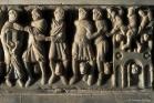 Abbaye de Saint-Hilaire (11). Sarcophage sculpté par le Maître de Cabestany