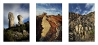 Trois âges géologiques : dolomies, ruffe, basalte. Triptyque